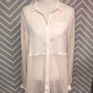 Free People Cream Colored Blouse Size L